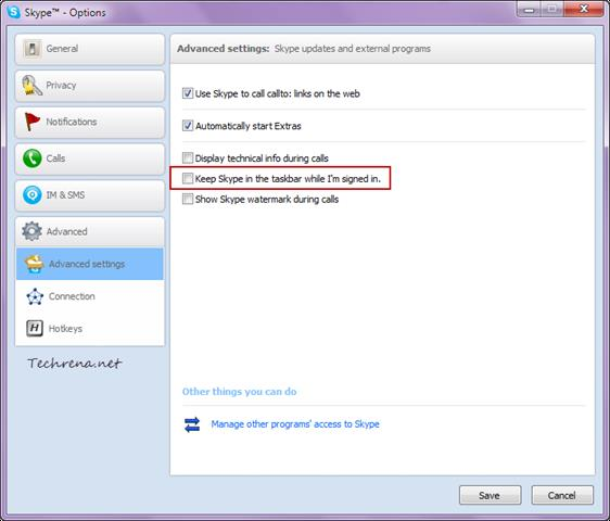 Skype options advanced settings