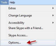 skype options in the tools menu