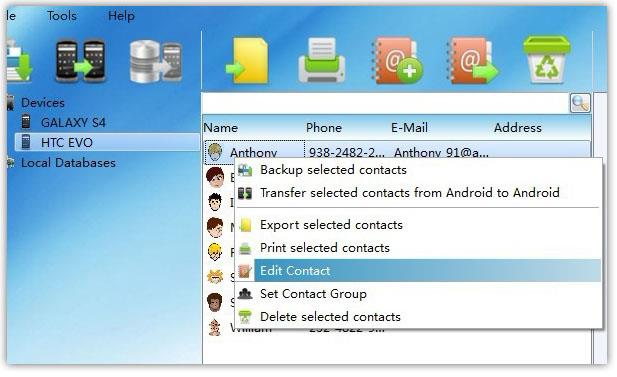 Edit Android Contacts from PC