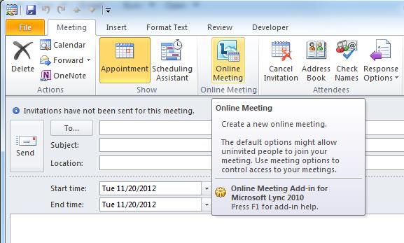 Creating a Lync Online Meeting