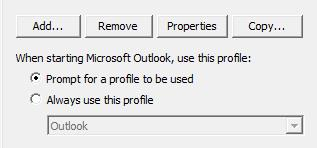 Prompt Option for choosing Outlook profiles