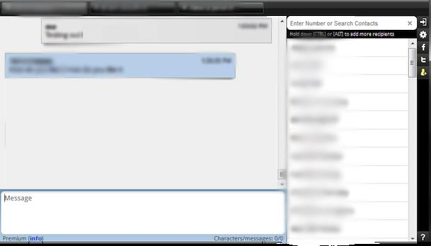 BrowserTexting's interface is very simple, and the contact list is alway handy, should you need to write a new message.