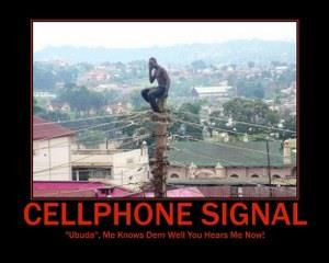 African man on cellphone tower dp