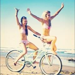 Two Girls make fun with raiding Bicycle whatsapp pictures free