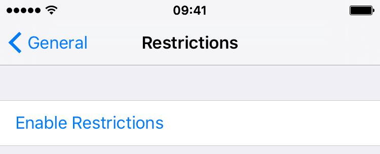 iOS 9 Settings Restrictions disable FaceTime iPhone 6s screenshot 003