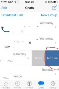Arcchieve message option- hide chats on whatsapp