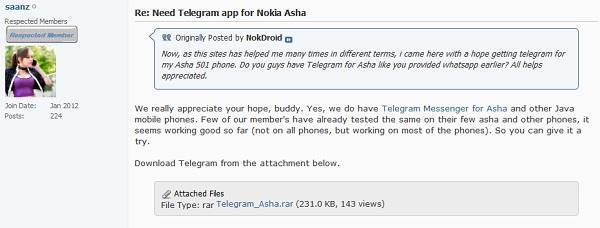 Telegram Messenger App for Nokia Symbian Mobile Phones