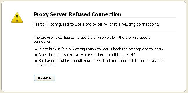 Firefox proxy server refused connection message