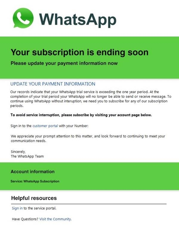 whatsapp scam email