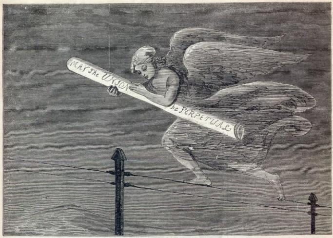 """""""The First Telegraphic Message from California"""" in Harper's Weekly (1861)"""
