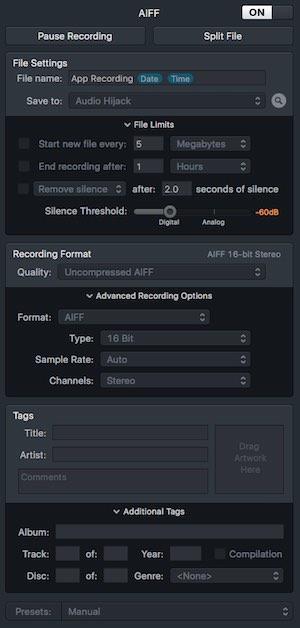 Audi Hijack Recorder Settings