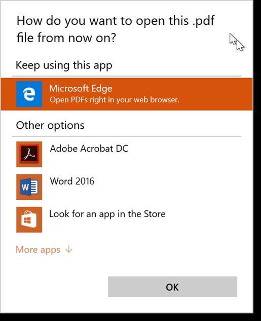 Windows 10 - change default PDF program