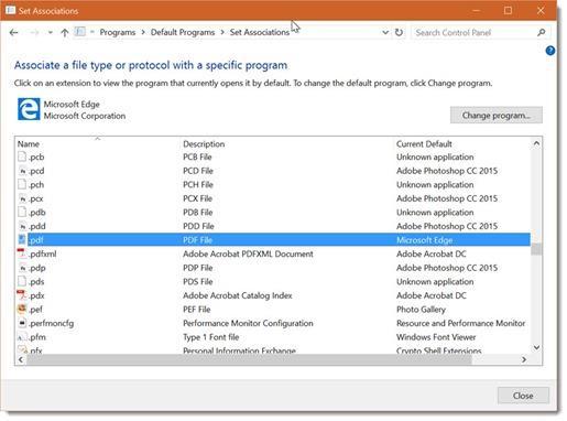 Windows 10 - change default PDF viewer