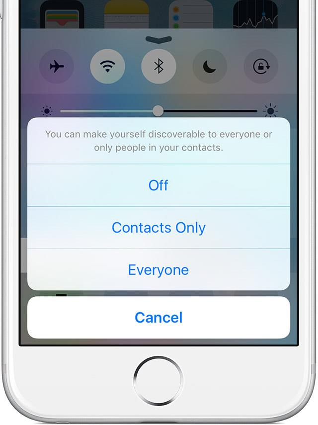iOS 9 AirDrop discoverability menu iPhone screenshot 001