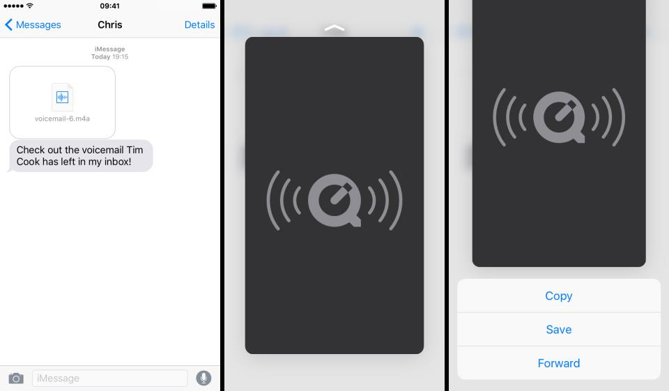 iOS 9 Messages voicemail attachment iPhone screenshot 001