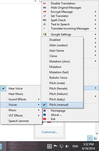 Selecting a voice effect