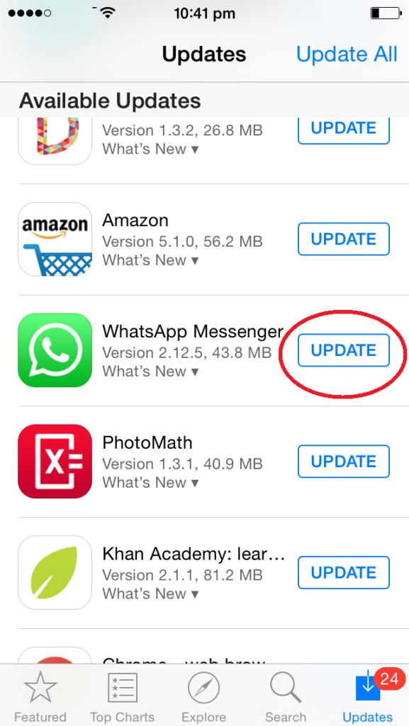 WhatsApp Update iPhone