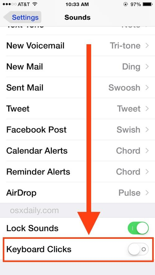 Keyboard click sounds in iOS Settings
