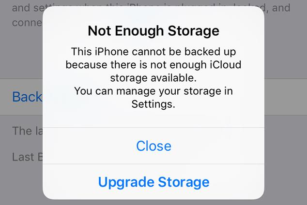 not enough storage iPhone cannot be backed up