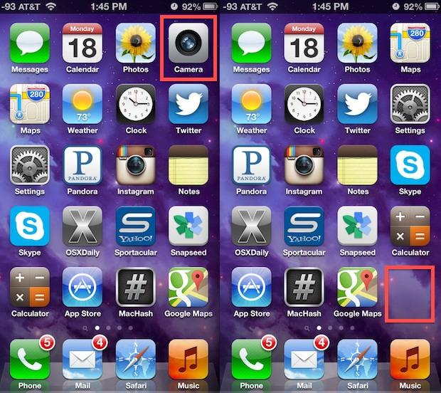 Camera disabled and removed from the iPhone home screen