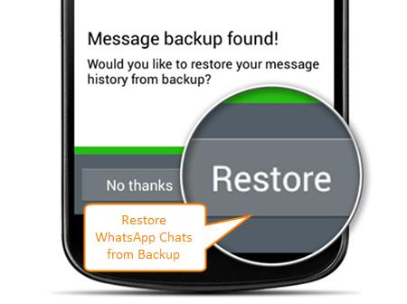 Restore WhatsApp Chat History from Recent Backup