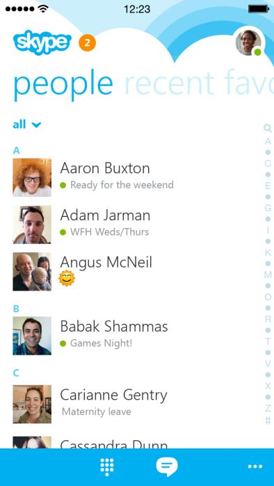 Skype 5.0 for iOS (iPhone screenshot 001)
