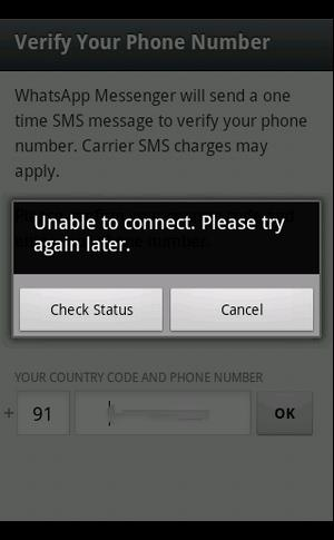 can't connect whatsapp