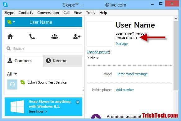 Skype Forgotten Username