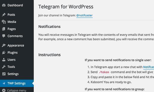 telegramforwpsettings
