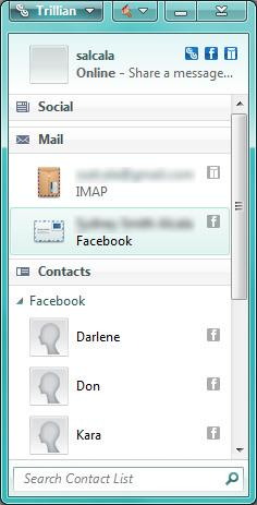 Trillian Window with Facebook and Gmail