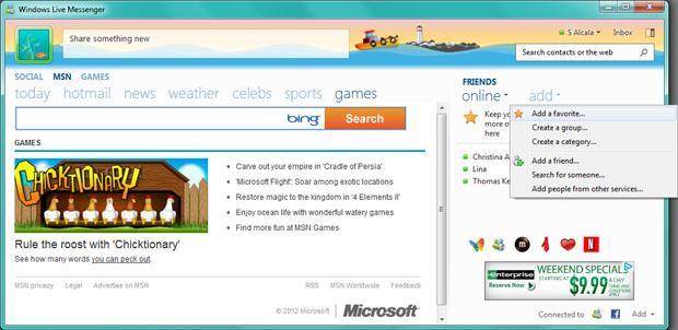 Windows Messenger Games Window