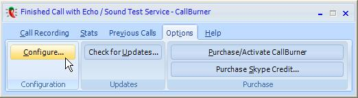 CallBurner Options Button