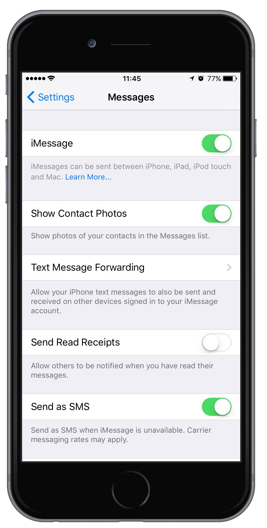 What does send as text mean on iPhone?