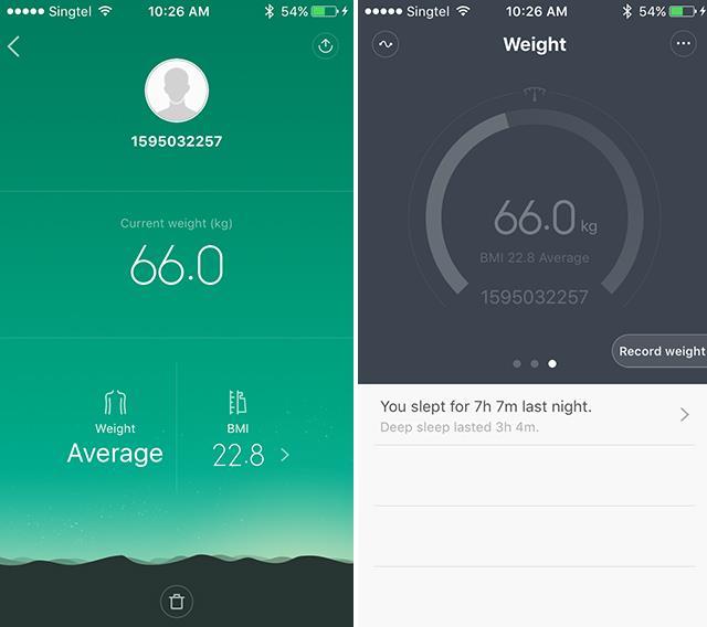 Xiaomi Mi band 1S -weight-screen-grab