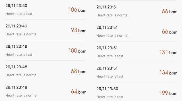 heart-rate-reading- Xiaomi Mi band 1S