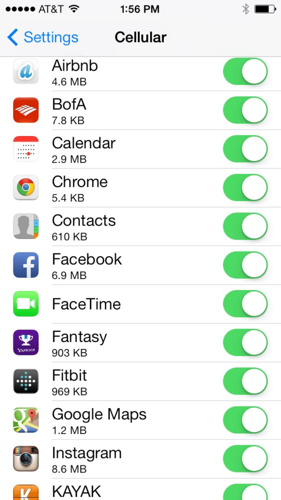 iPhone Data Usage iOS 7
