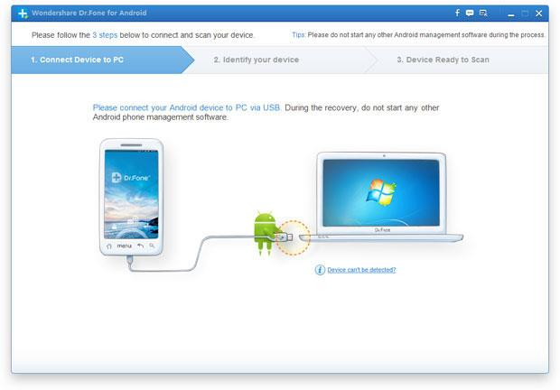 connect phone to drfone (Android data recovery software)