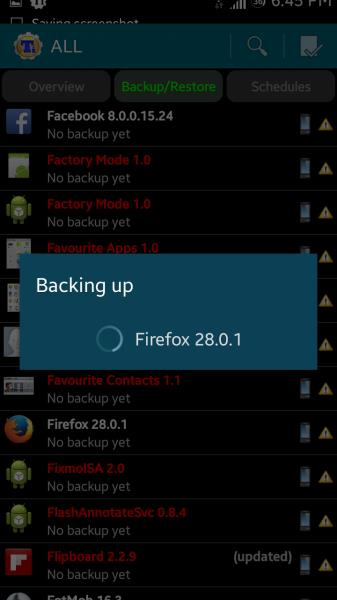 Backing up app