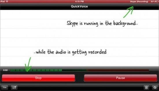 quick voice - Record Skype Calls On Apple iPad