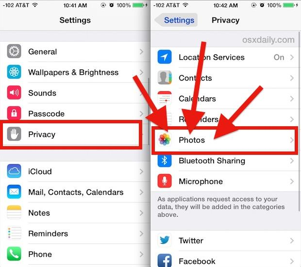 Find what apps have access to Photos in iOS