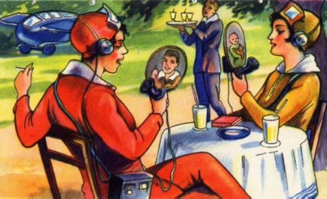 Mobile videoconferencing in the 1930 German comic Die Eroberung der Welt (The End of the World)