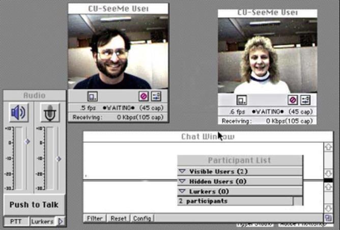 CU-SeeMe 2, 1995. | http://web.cortland.edu/flteach/methods/obj2/cuseeme2.html