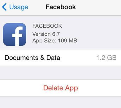 Delete Facebook App to Clear App Cache