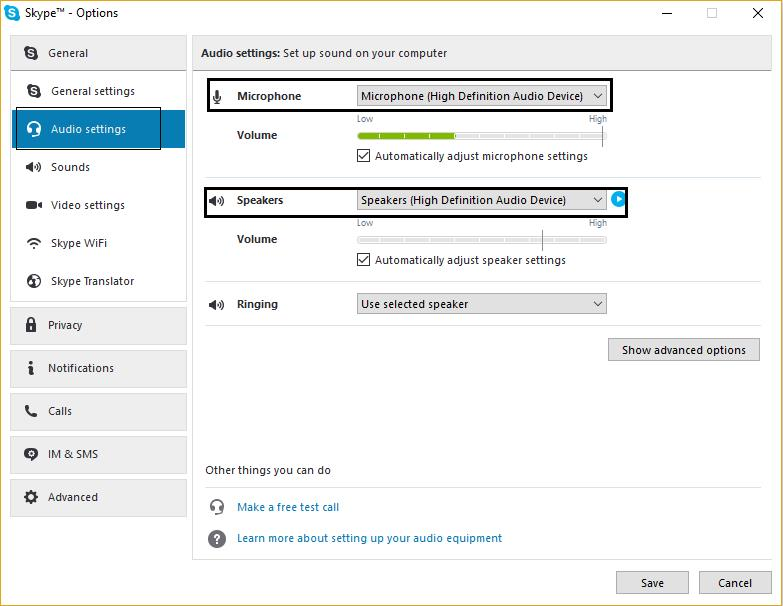 skype options audio settings