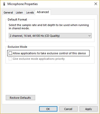 uncheck allow application to take control of microphone