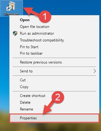 Opening the software shortcut properties window