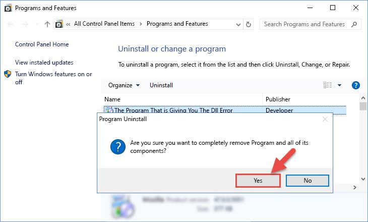 Following the confirmation and steps of the software uninstall process