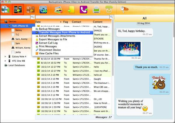 Transfer All Viber Chat Messages from iPhone to Android on Mac