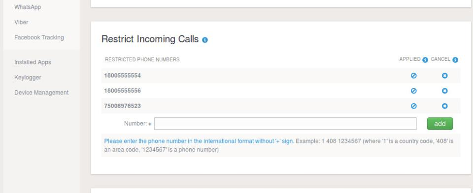 mSpy Call blocking