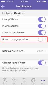 Uncheck Show message preview option